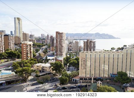 BENIDORM SPAIN - SEPTEMBER 18 2016: Aerial view of summer resort Benidorm famous for its many skyscrappers and beautiful beaches