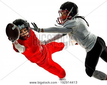 two women teenager girls american football players  isolated on white background silhouette with shadows