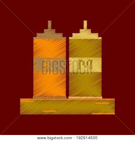 flat shading style icon pixel ketchup and mustard