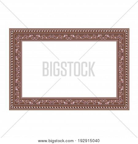 Squared decorative frame of bronze color with finishing on perimeter the vector image