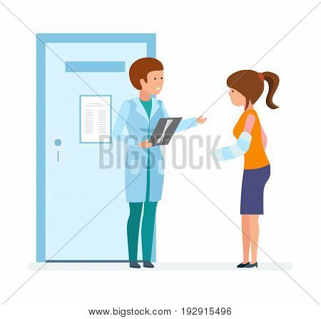 Modern medicine and healthcare system. Radiologist doctor shows the pictures with a fracture to the patient who came to visit. Vector illustration, people in cartoon style.