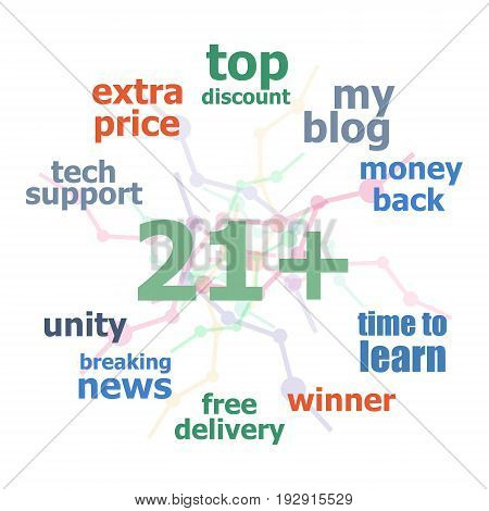 Text 21 Plus. Social Concept . Word Cloud Collage. Background With Lines And Circles