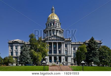 Denver Colorado Capitol in Summer 2010. View from Civic Park.