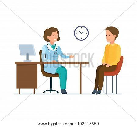 Modern medicine and healthcare system. First aid at doctor's office. Doctor therapist works with patient, research personal card, listens to complaints. Vector illustration, people in cartoon style.