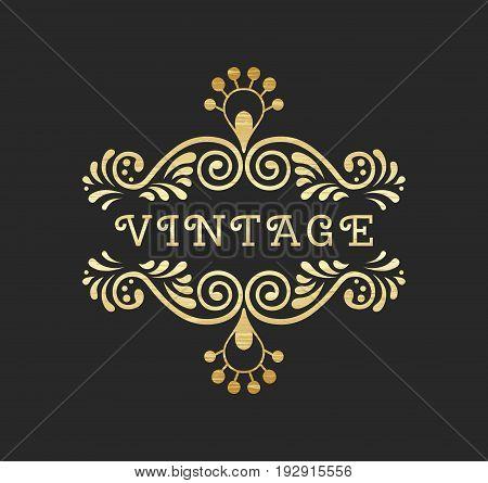 Elegant retro flourish decor. Vintage logo design with gold antique texture. Baroque style ornament for boutique restaurant cafe flower shop emblem. EPS 10 vector illustration. Clipping mask.