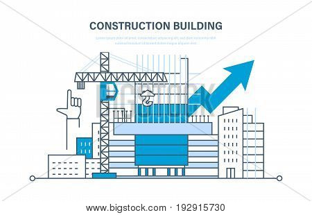 Architectural building work process houses with crane, in the city and construction machines, construction site, with technical equipment and machines. Construction building concept.