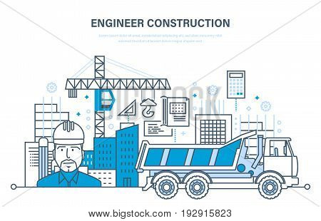 Construction of houses, buildings, construction sites, design solutions, control process, work as foreman of an engineer. Construction building concept. Illustration thin line design vector doodles