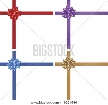 Realistic vector illustration of red purple blue and gold wrapping ribbon