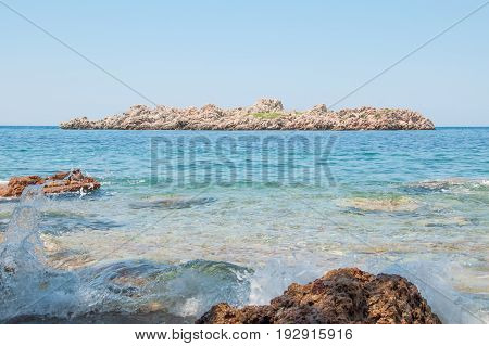 the view of the rocky islet in the Adriatic sea 2014