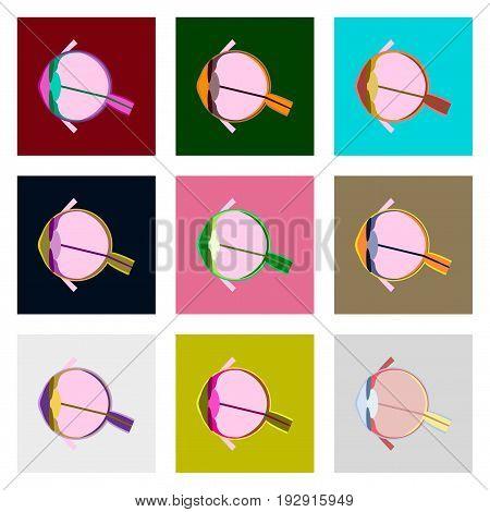 icons set in flat style human organ eye