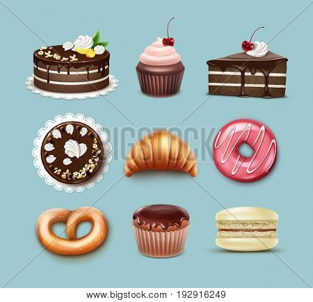 Vector confectionery set chocolate puff cake, french croissant, pretzel, cupcake with whipped cream and cherry, muffin, macaron top, side view isolated on blue background