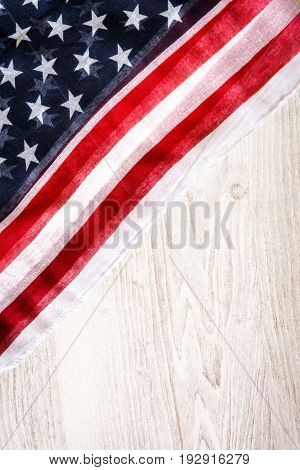 United States flag on wooden background.Independence day and memorial day