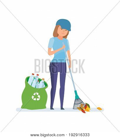 Young girl, collecting plastic bottles and cleaning garbage. Concept of characters gathering garbage and plastic waste for recycling. Care of the nature. Vector illustration, people in cartoon style.