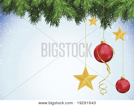 Evergreen branches with red ornaments and gold sparkle star decorations