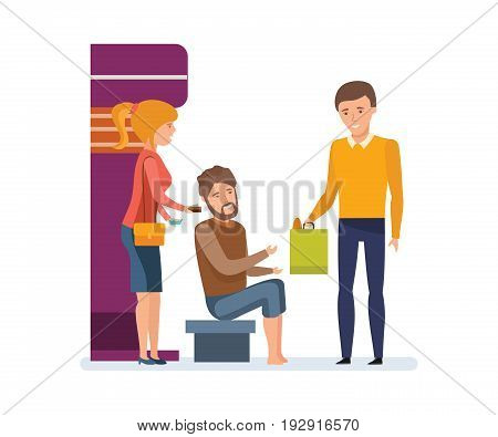Volunteers engaged in charitable affairs, helping a homeless person with money and food, attention and a warm attitude to people in need. Vector illustration, people in cartoon style.