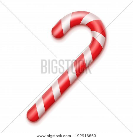 Vector striped red and white christmas candy cane close up top view isolated on background