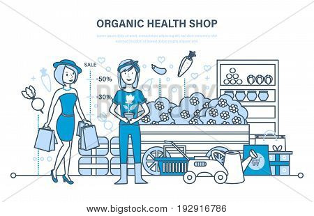 Fashion girl attends organic health store with large shopping, cashier puts goods on showcase and sells them. Interior of Farm shop. Illustration thin line design of vector doodles, infographics elements.