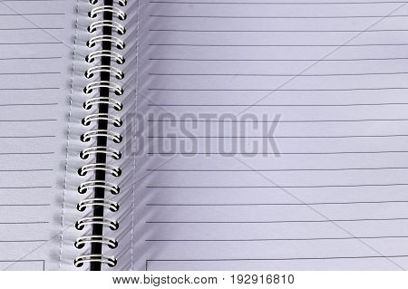 Close up Open notebook paper page with line