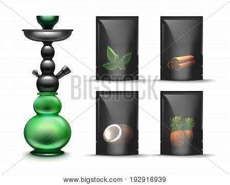 Vector black sealed shisha tobacco packs with mint, cinnamon, coconut, pineapple hookah flavours front view isolated on white background