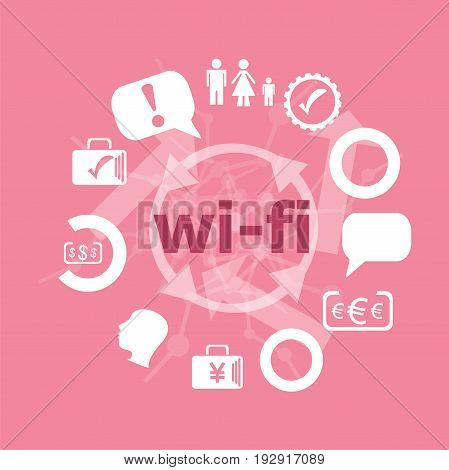 Text Wi Fi. Web Design Concept . Icons Set. Flat Pictogram. Sign And Symbols For Business, Finance,