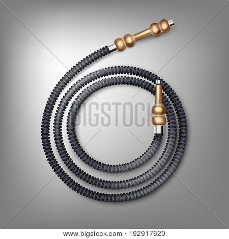 Vector coiled hookah hose with brown wooden mouthpieces top view isolated on dark background