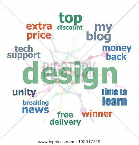 Text Design. Web Design Concept . Word Cloud Collage. Background With Lines And Circles