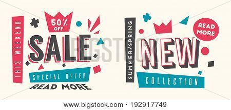 Sale and new collection banners. Bright and retro style. Cartoon vector illustration. Poster and flyer design. Geometric elements