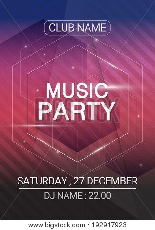 Hexagon Music party EDM sound poster. Electronic club fun music. Musical event disco trance sound. Night party invitation. DJ flyer poster.