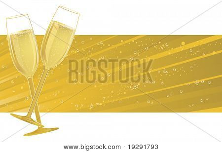 Champagne glasses on light burst banner space with bubble details