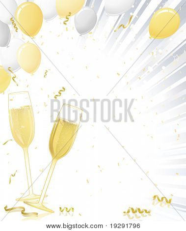 Champagne glasses with silver and gold balloons on light ray background