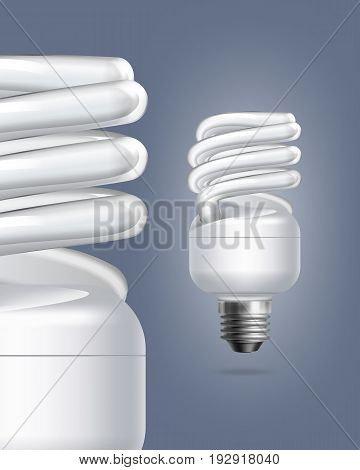 Vector fluorescent energy saving lamps single and close up on colored background