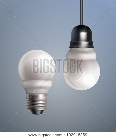 Vector isolated energy saving LED lamps with socle on colored background