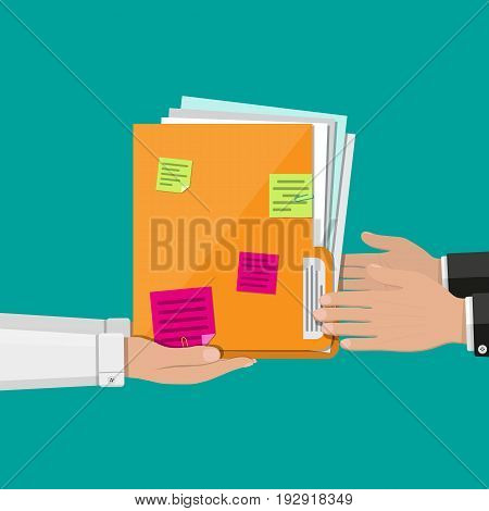 Orange documents folder with paper sheets and sticky notes in hand. Vector illustration in flat style