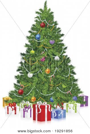 Realistic vector Christmas tree with gifts and reflective floor