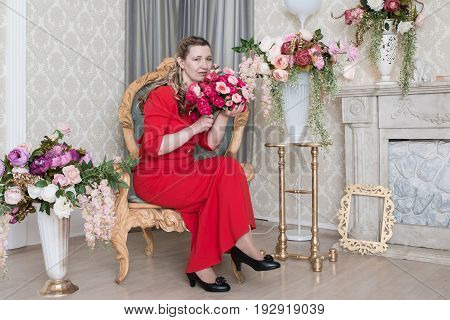 Ugly Domineering Woman Is Posing In Red Dress
