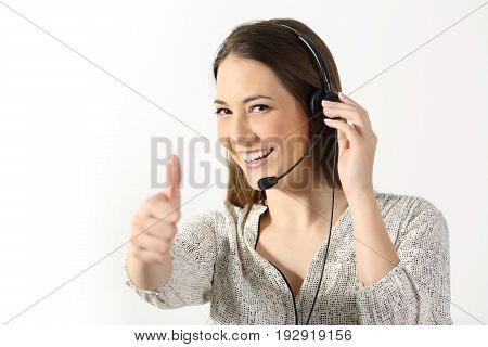Portrait of a phone operator looking at you and gesturing thumbs up on a white background