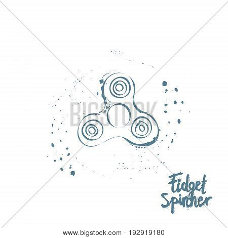 Background or greeting card with fidget spinner text hand lettering calligraphy. hand drawn vector illustration