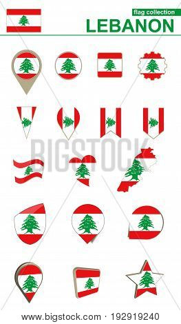 Lebanon Flag Collection. Big Set For Design.