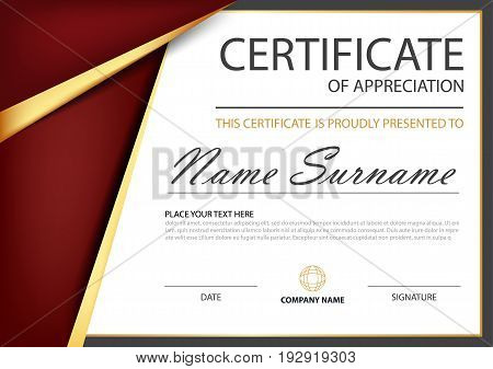 Red gold Elegance horizontal certificate with Vector illustration white frame certificate template with clean and modern pattern presentation