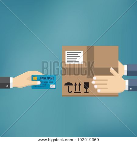 Human hand hold credit card and pay for the package. Delivery service concept. Payment for express delivery. Vector illustration in flat design.