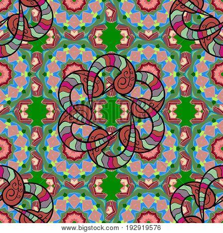 Tribal Boho Bohemian style. Ornament colored card with mandala. Geometric circle vector element. Kaleidoscope medallion yoga india arabic.