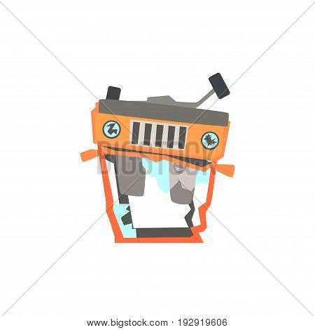 Red car overturned damaged by accident cartoon vector Illustration isolated on a white background