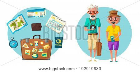 Old couple in travel. Journey of grandparents. Cartoon vector illustration. Character design on senior age travelers. Family having summer holidays trip. Elderly people.