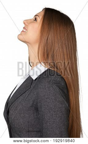 Business young portrait woman businesswoman looking up background