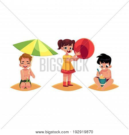 Three kids, boys and girl, playing on sandy beach, summer vacation, cartoon vector illustration isolated on white background. Kids, children happy on the beach, playing with sand and inflatable ball
