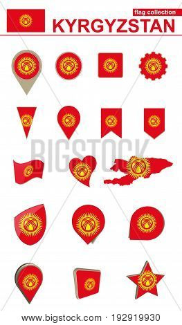Kyrgyzstan Flag Collection. Big Set For Design.
