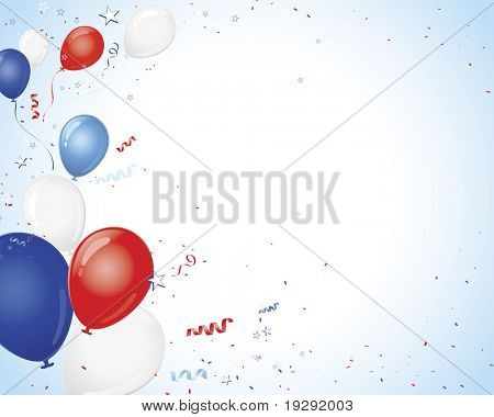Red White Blue Balloons on vignette background with confetti