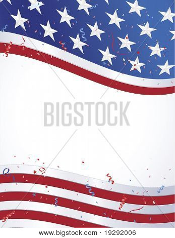 American Flag border vertical layout