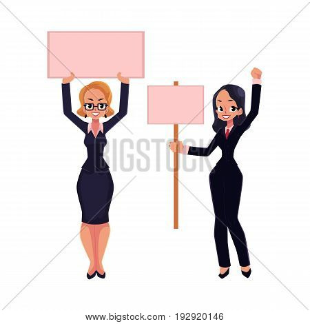 Two girls, women, businesswomen on strike holding empty boards in one and two hands, cartoon vector illustration isolated on white background. Two business women with empty board on strike
