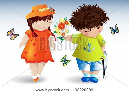 A boy in a T-shirt with an anchor gives a bouquet to a girl in an orange dress and hat, around fly butterflies, romance, love, a date